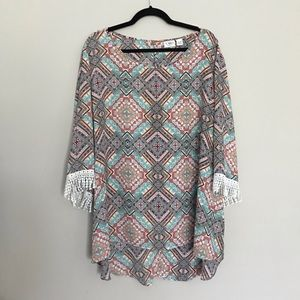Cato 22/24w Geometric Top with Lace Fringe Details